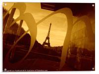 Eiffel Tower, Paris, in sepia., Acrylic Print