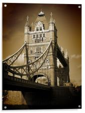 Tower Bridge Sepia (1), Acrylic Print