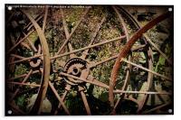 Rusty Cart Rims., Acrylic Print