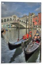 Venice Gondalos at Rialto Bridge, Acrylic Print