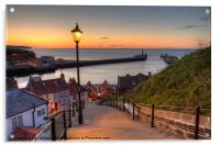 Whitby Steps - Orange Glow Landscape, Acrylic Print