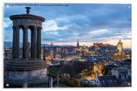 Edinburgh from Calton Hill, Acrylic Print