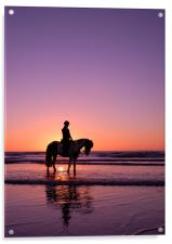 Horse rider at sunset, Acrylic Print