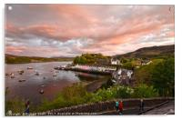 Sunset colour over Loch portree, Acrylic Print