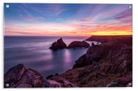 Sunset over Kynance Cove, Acrylic Print