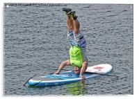 Paddle board instructor showing off, Acrylic Print
