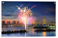Tokyo Bay Fireworks, Acrylic Print