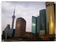 Shanghai Skyline at Sunset, Acrylic Print