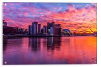 Awsome fiery sunset over Necastle Upon Tyne, Acrylic Print