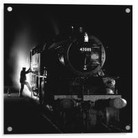 Steam loco fireman climbing aboard, Acrylic Print