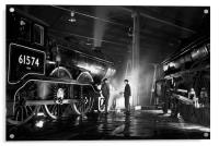 Steam loco crew stop for a chat at night., Acrylic Print