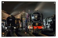 Steam locomotives receive attention on shed at ni, Acrylic Print