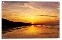 Saltburn Beach Sunset, Acrylic Print