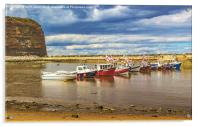 Boats In Staithes Harbour, Acrylic Print