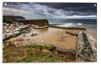 Staithes from the East cliff, Acrylic Print