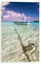 Moored Dhoni. Maldives, Acrylic Print