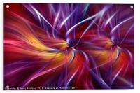 Dynamic crimson purple orange abstract. Concept Two Souls, Acrylic Print
