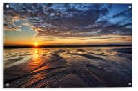 Sunset on Cleveleys Beach, Acrylic Print