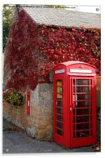 Red Telephone Box in Nottinghamshire, Acrylic Print