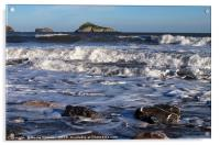 Waves roll in at Meadfoot Beach Torquay, Acrylic Print