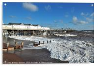 Rough seas by the pier on Teignmouth Beach , Acrylic Print