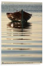 Small Boat Reflecting At Moorings, Acrylic Print