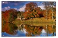 Autumn on the River Tyne at Hexham, Acrylic Print
