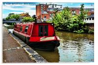 Canal boat on Shropshire Union canal at Chester, Acrylic Print