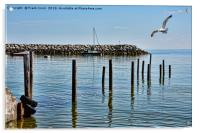 The submerged jetty at Rhos-on-Sea. North Wales., Acrylic Print