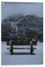 Lone Bench At Lago del Predil Italy, Acrylic Print