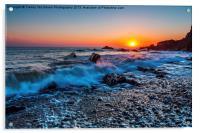 Breakers At Sunset, Acrylic Print