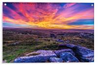Saddle Tor Sunset, Acrylic Print