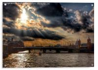 Thames sun, Acrylic Print