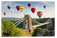 Bristol Balloon Fiesta display over Clifton Bridge, Acrylic Print