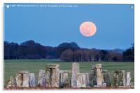 Super Blue Moon is seen rising over Stonehenge sto, Acrylic Print