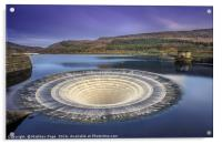 Thats one giant Plughole.. Bath time at Ladybower , Acrylic Print
