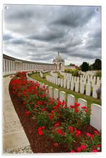 The poppies at Tyne Cot Cemetery , Acrylic Print