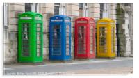 Colourful telephone boxes, Acrylic Print