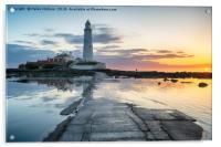 Stunning Sunrise over St Mary's Lighthouse, Acrylic Print