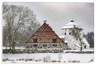 Hovdala Castle Gatehouse and Stables in Winter, Acrylic Print