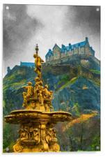 Edinburgh Ross Fountain Digital Painting, Acrylic Print