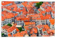 Montenegro Kotor Rooftops Digital Painting, Acrylic Print