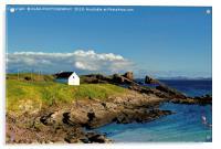Split Rock & Salmon Bothy, Clachtoll, Scotland., Acrylic Print