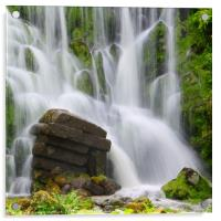 Artificial Waterfall in the mountain park Wilhelms, Acrylic Print