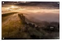 Corfe Castle misty sunrise , Acrylic Print