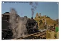 Corfe station steam train , Acrylic Print