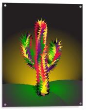 Cactus At Night Cartoon, Acrylic Print