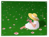 Girl In Grass, Acrylic Print