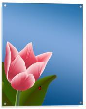 Tulip with Ladibug, Acrylic Print