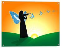 Violinist & Butterflies, Acrylic Print